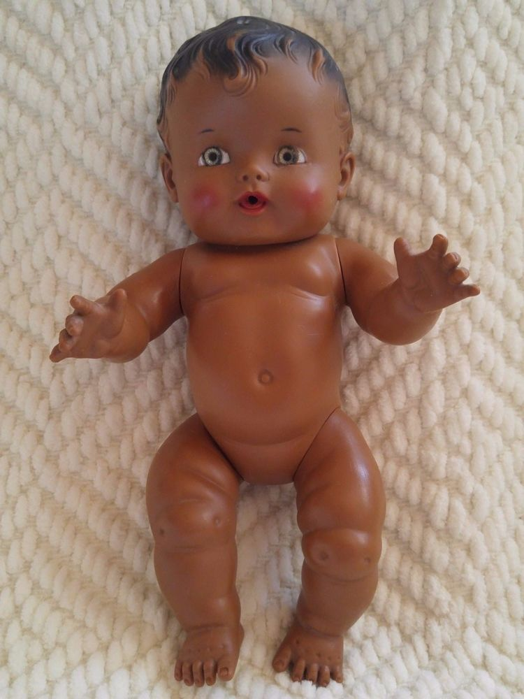 Vintage sun rubber co. sunbabe black african baby doll 9.5 so wee ...