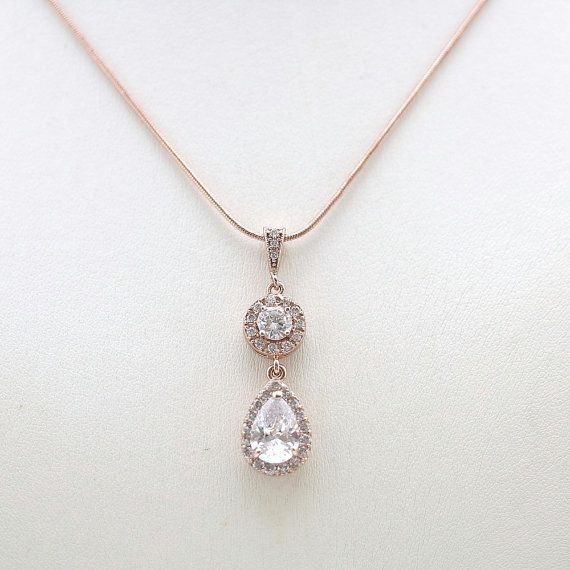 Rose gold wedding necklace clear cubic zirconia by poetryjewelry cubic zirconia teardrop pendant bridal necklace bridal jewelry wedding 24 best free home design idea inspiration aloadofball Choice Image