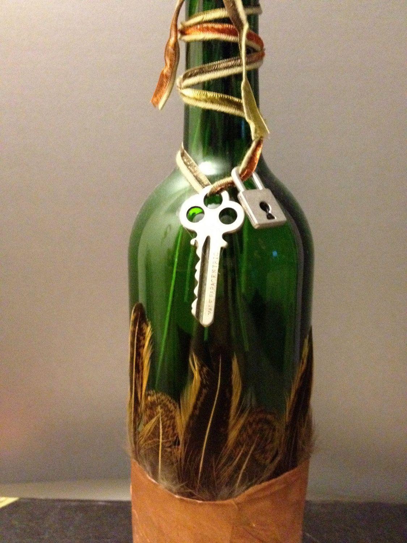 Under lock and key green glass wine bottle decor vase under lock and key green glass wine bottle decor vase centerpiece steampunk reviewsmspy