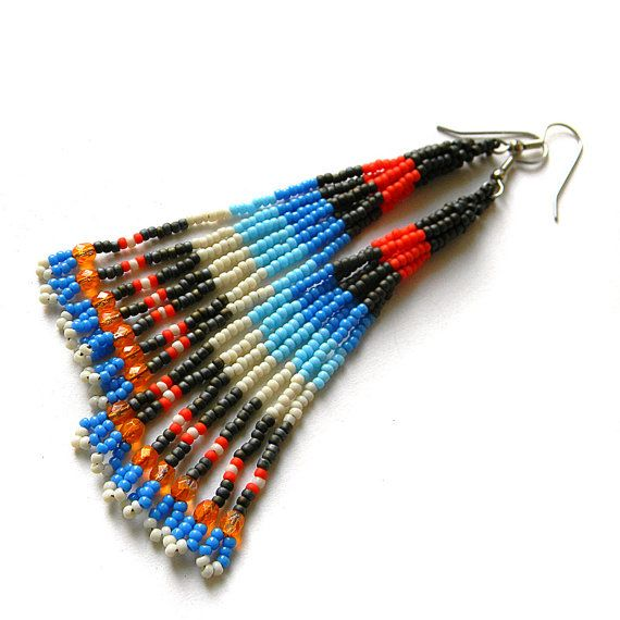 Long fringe seed bead earrings beadwork jewelry by Anabel27shop,