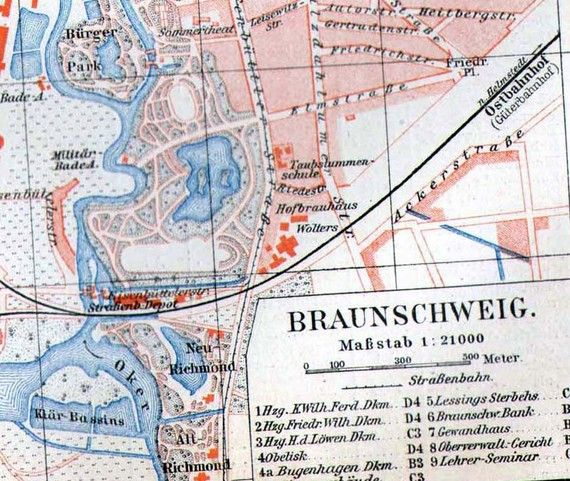 Brunswick Braunschweig Germany Map 1906 Vintage Edwardian Era Steel