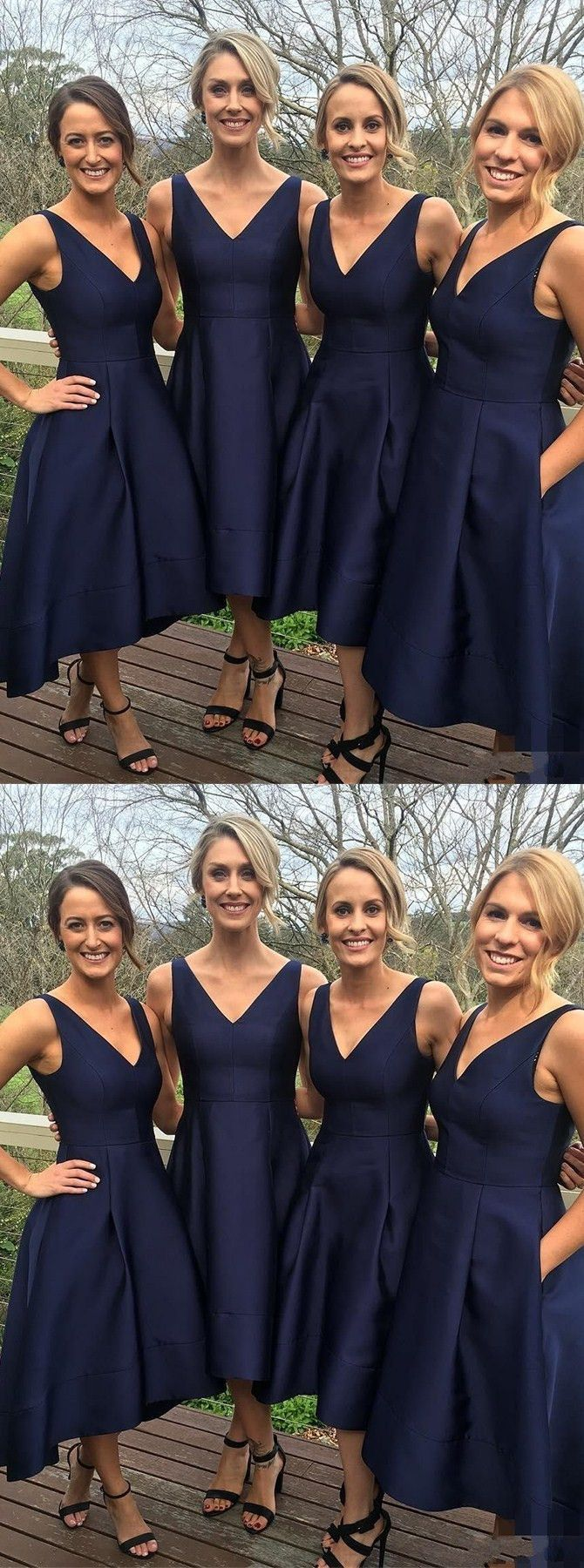 Aline vneck sleeveless hilow navy blue satin bridesmaid dress