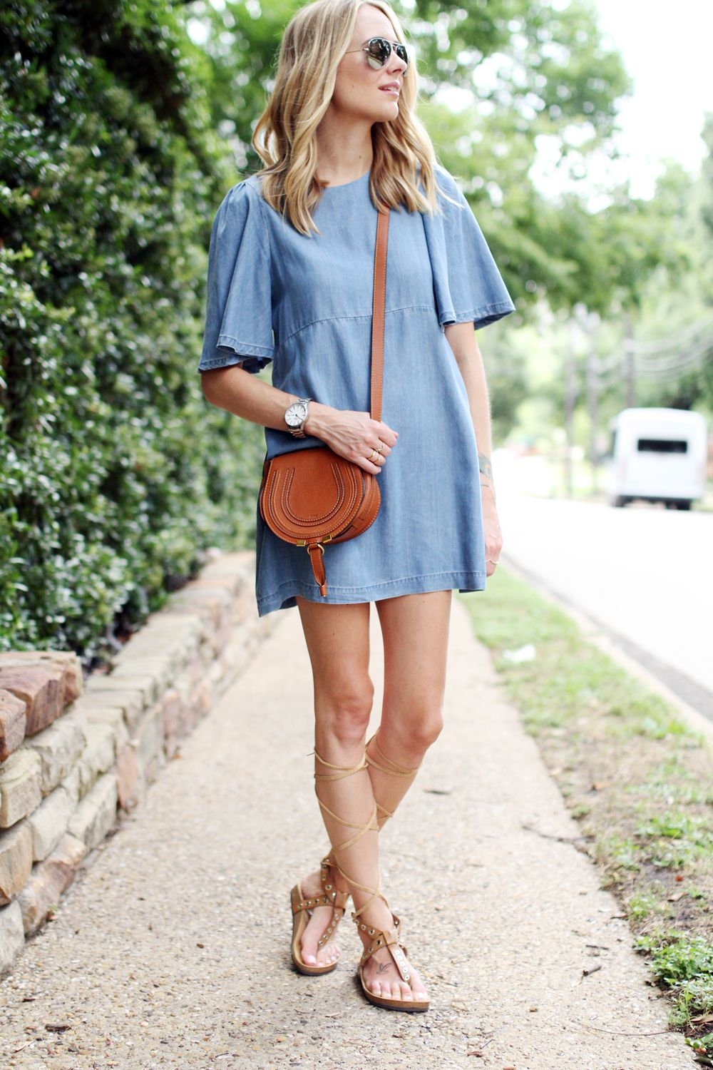 flutter sleeve chambray dress-tan chloe crossbody-lace up gladiator sandals-mirrored aviator sunglasses