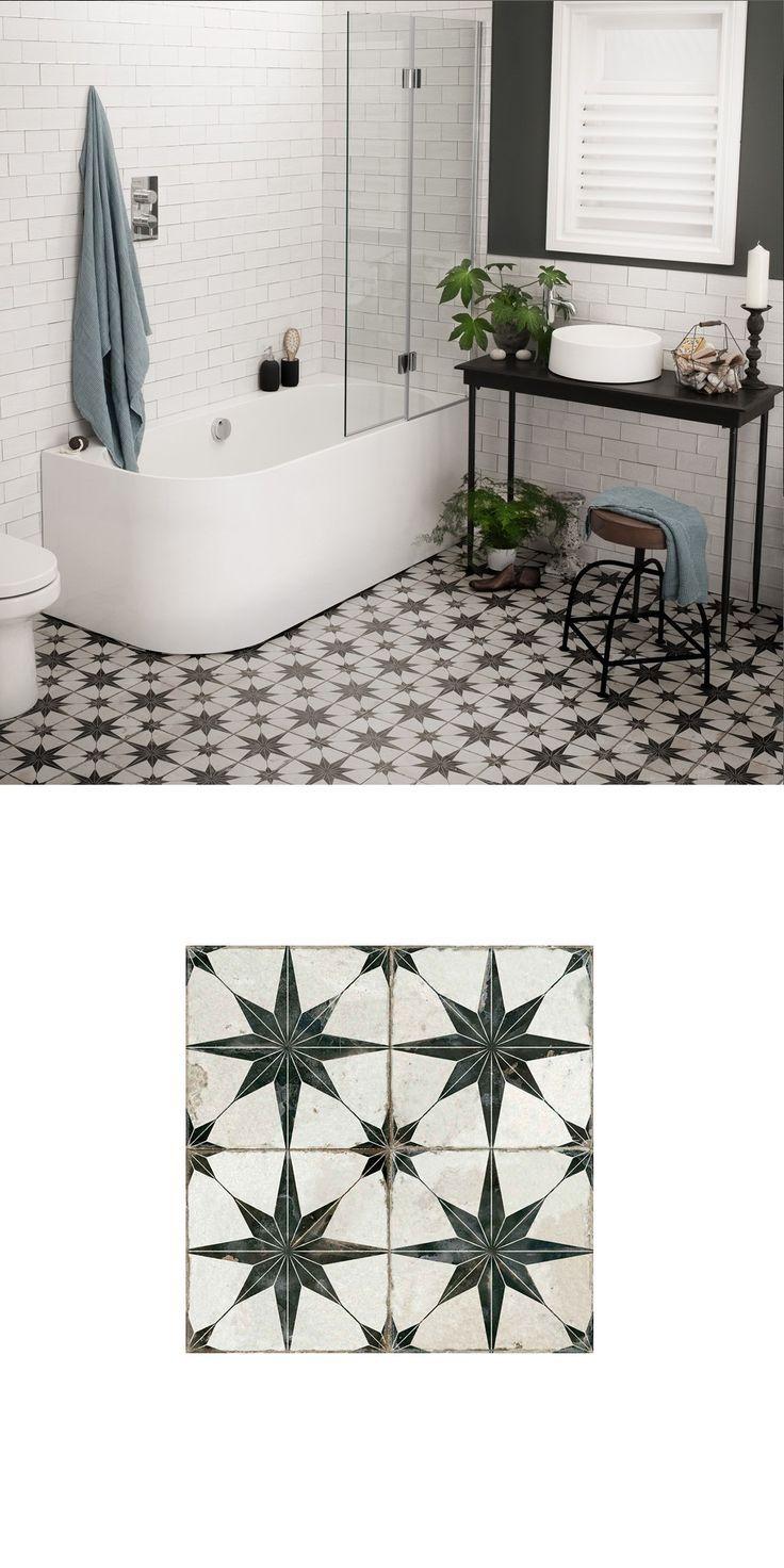Scintilla Black Star Pattern Tiles in 2020 Bathroom