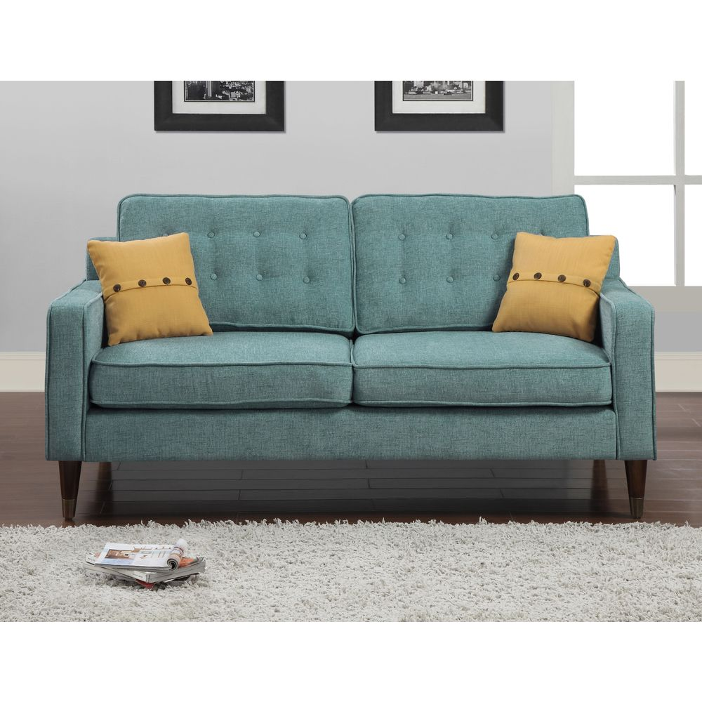 Jackie Aqua Sofa With French Yellow On Pillow Ping Great Deals