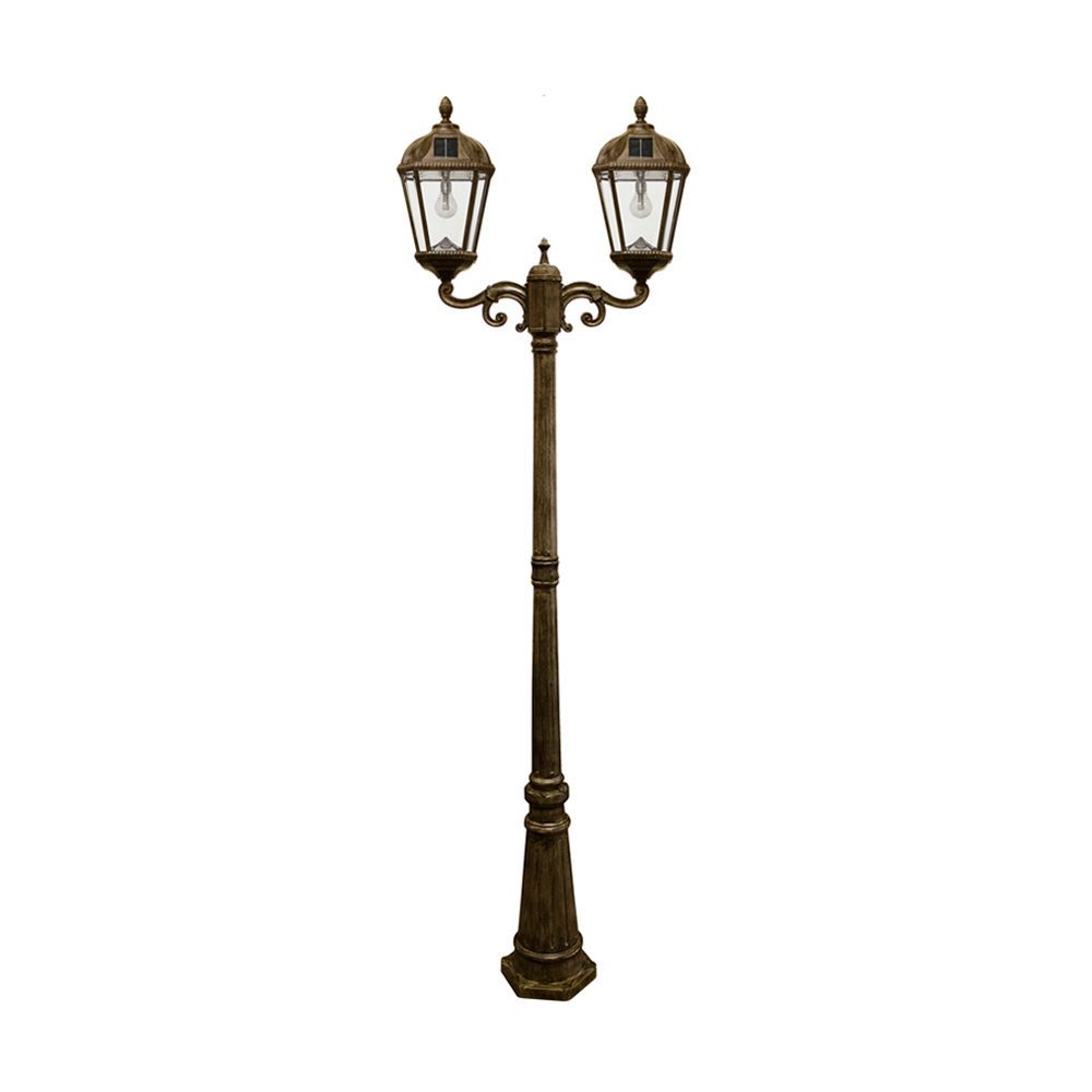 Gama Sonic Royal Bulb Double Head Lamp Post With Gs Solar Led Light Bulb Weathered Bronze Finish Solar Light Bulb Solar Lamp Post Solar Led Lights