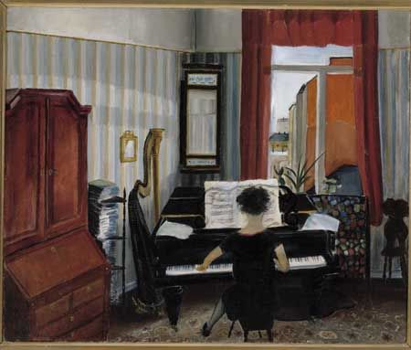 Sulho Sipilä: Sisäkuva, soittava nainen, 1931. Öljy kankaalle, 53,5 x 64,5 cm…