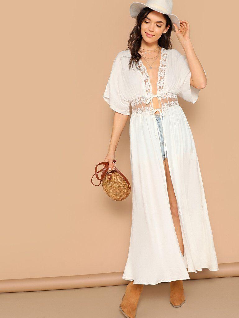 18a11cbd17 White Lace Empire Waist Tie Long Kimono Beach Cover Up in 2019 | Our ...