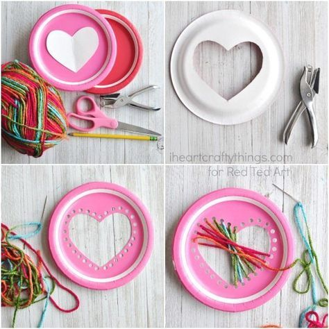 Paper Plate Heart Sewing Craft #paperprojects