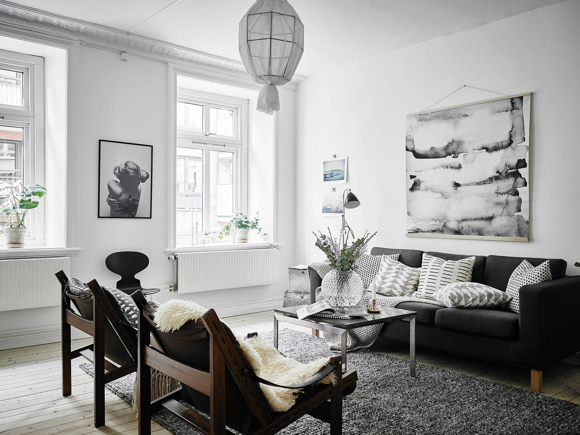 Scandinavian living room with oversized watercolor art