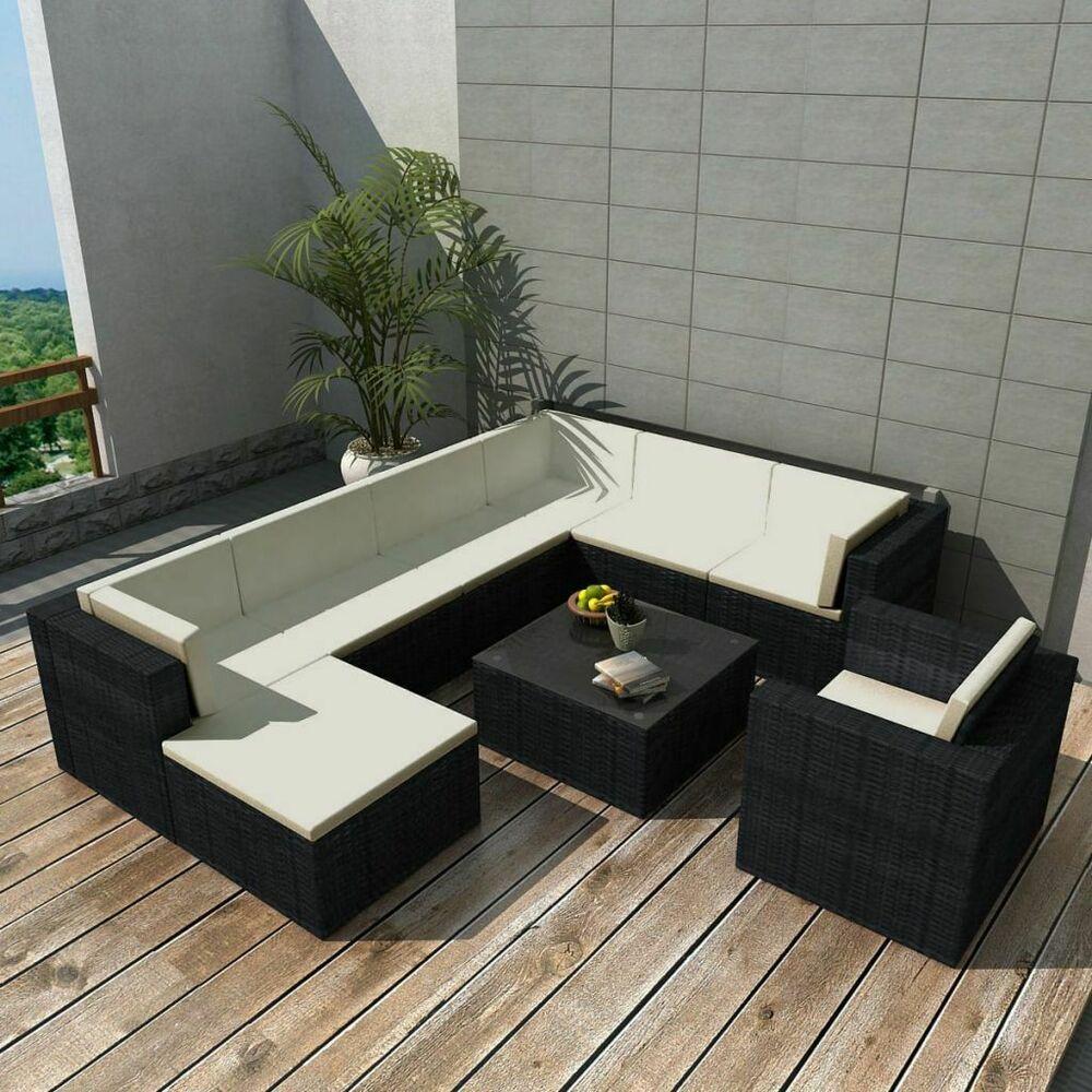 vidaxl ensemble de canap 27 pcs poly rotin noir salon de. Black Bedroom Furniture Sets. Home Design Ideas
