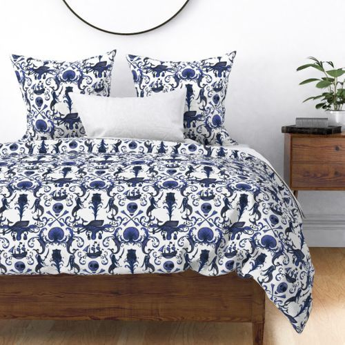 Colorful fabrics digitally printed by Spoonflower - Rococo and a Bottle of Rum: Navy #garlandofflowers