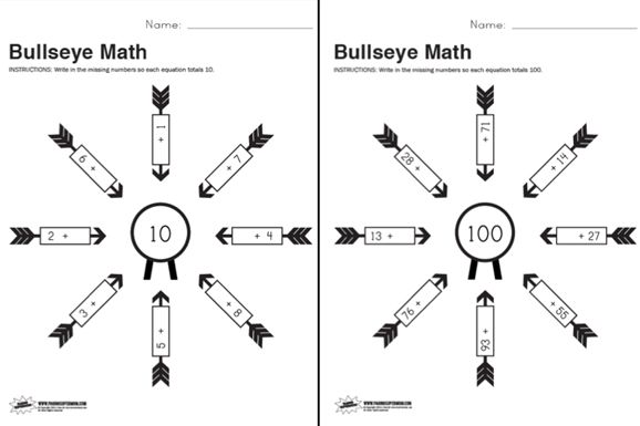 Free Printable Bullseye Math Worksheet | Math Helps | Pinterest ...