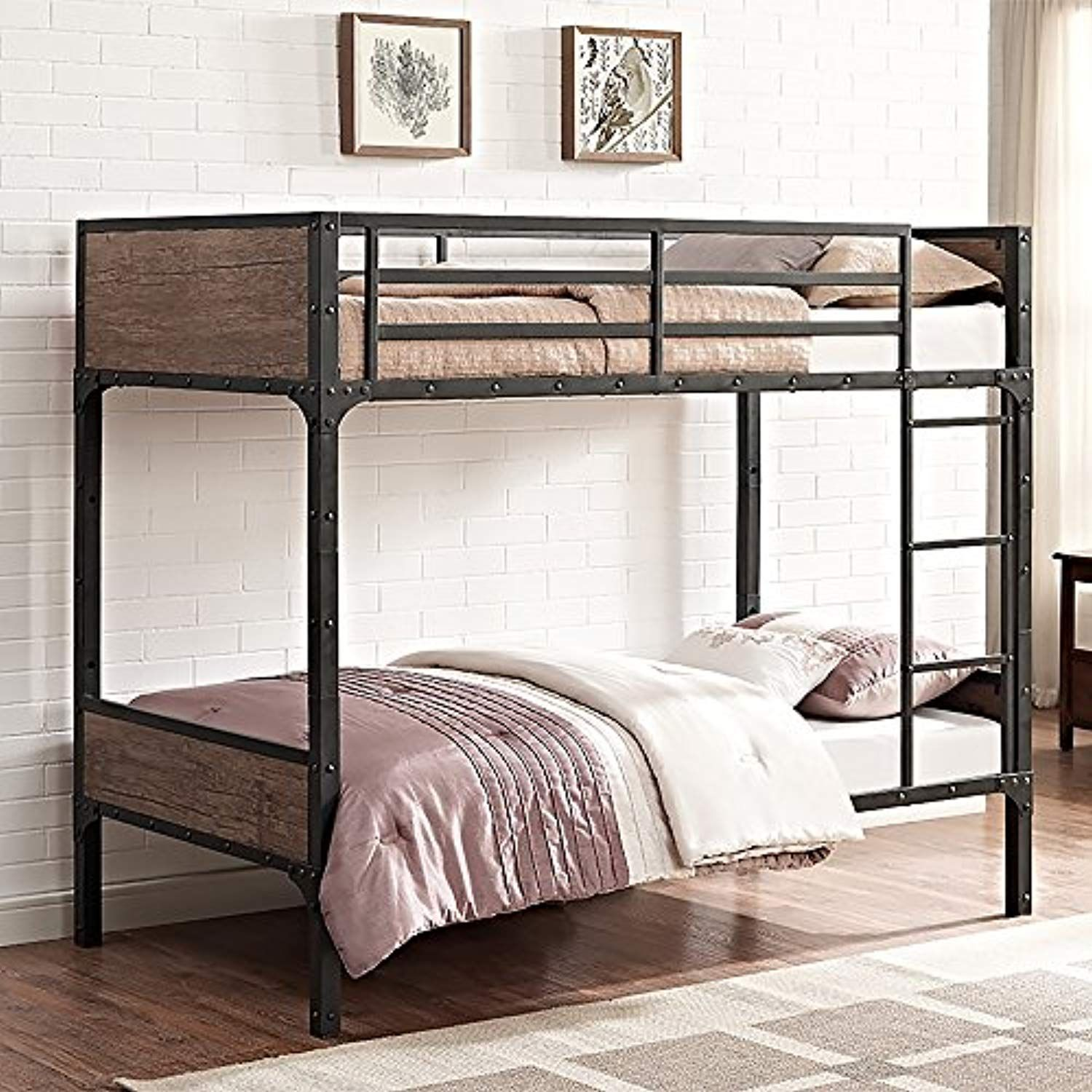 We Furniture Rustic Wood Twin Over Twin Bunk Bed You Can Get Additional Details At The Image Link This Is An Wood Bunk Beds Twin Bunk Beds Metal Bunk Beds