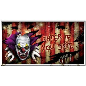 Halloween Creepy Carnival Party Enter If You Dare Banner Amazon - circus halloween decorations