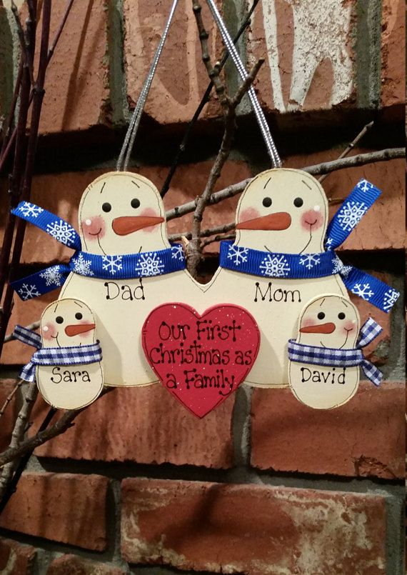 Family of 4: Snowmen Family Ornament Our First by debwwu on Etsy