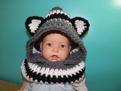 Crochet bufanda con Capucha Y Orejas Para Bebe' Hasta Adulto