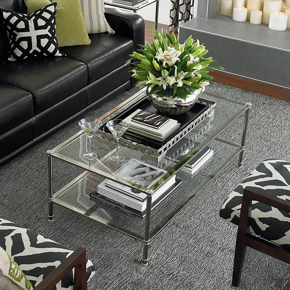 Sophisticated Metropolitan Rectangular Glass Cocktail Table