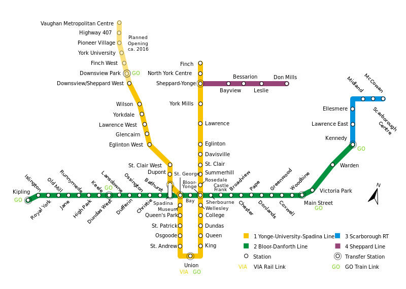 トロント交通局 地下鉄路線図 トロント 交通