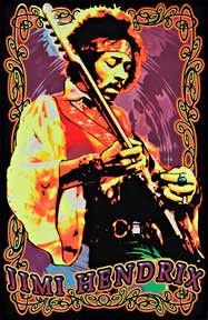 Experience Hendrix like never before with this psychedelic 70's themed 23 X 35 Jimi Hendrix Velvet Blacklight Poster.