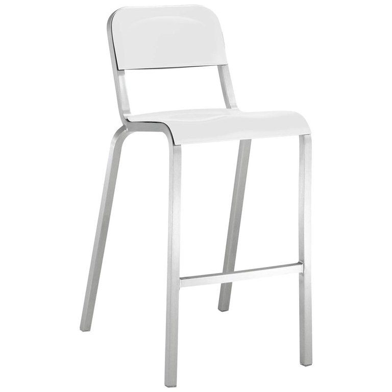 Fabulous Emeco 1951 Barstool In Brushed Aluminum White By Adrian Caraccident5 Cool Chair Designs And Ideas Caraccident5Info