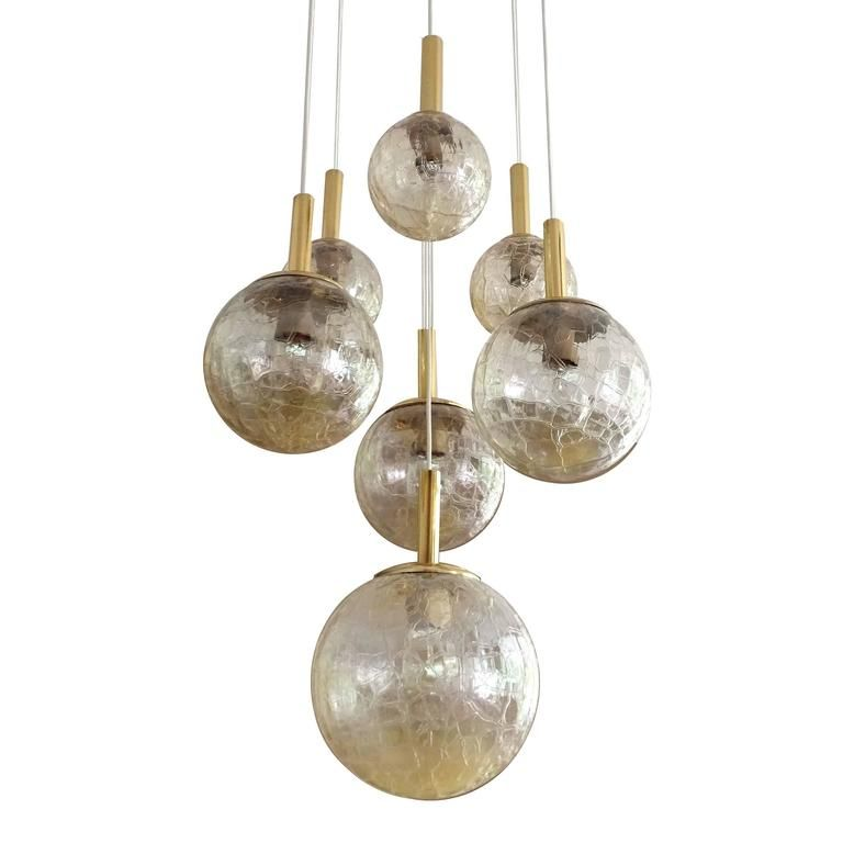 Very large doria tier glass globes chandelier modernist brass very large doria tier glass globes chandelier modernist brass pendant lamp 1 aloadofball Images