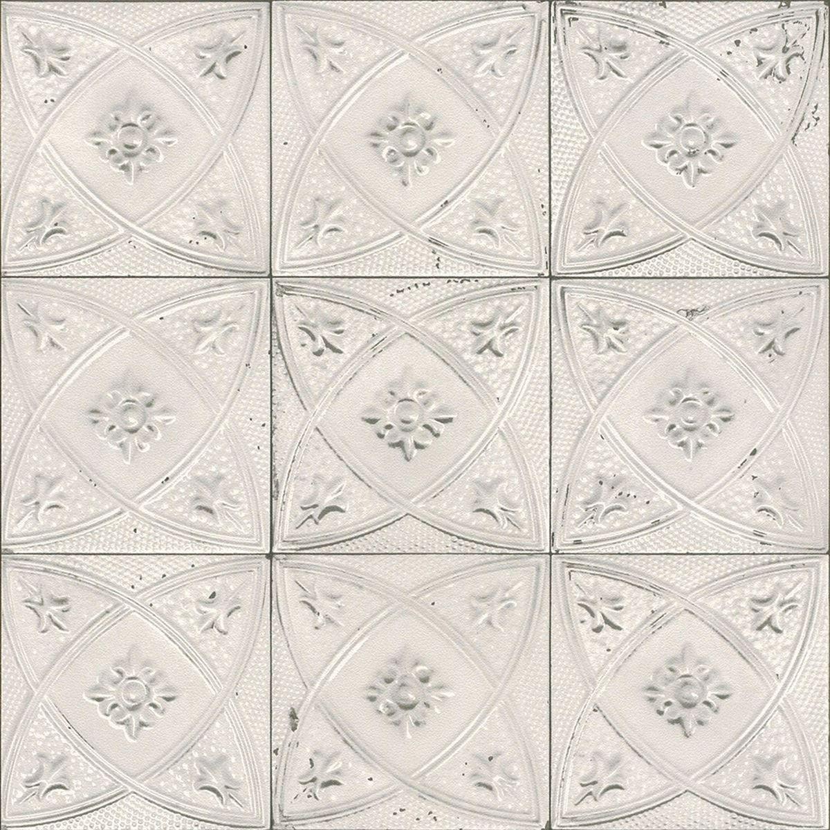 Ceramic Tile Wallpaper Rasch 932508 White Ebay Floral Tiles Tile Wallpaper Wallpaper Design Pattern