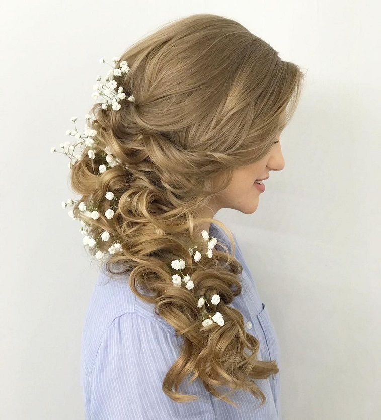 Beautiful swept back half down hairstyle, wedding hair,half up half down hairstyles ,half up half down wedding hairstyles, wedding hair down hairstyle #weddinghairstyles #hairstyles #romantichairstyles #halfup #hairdown