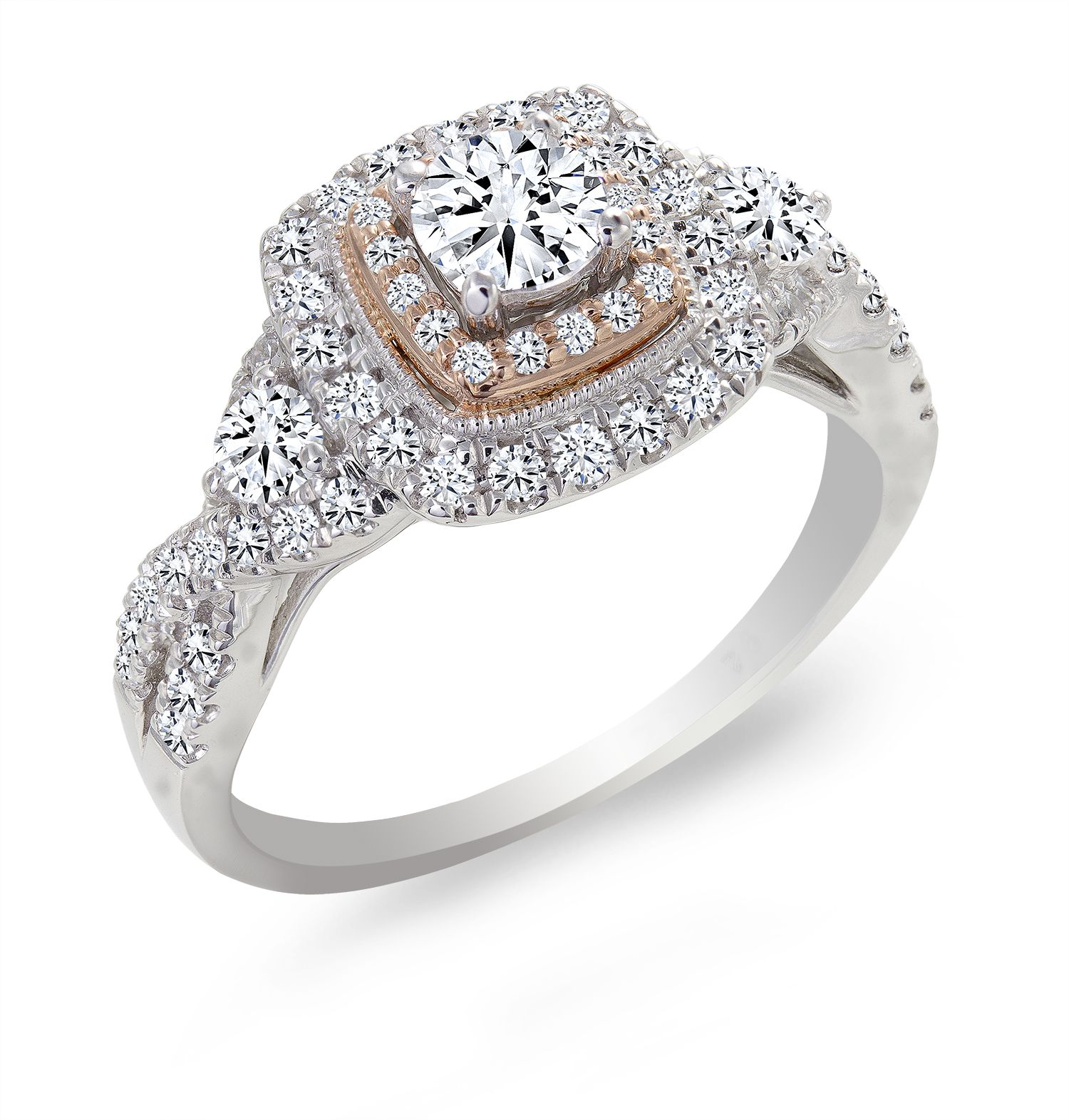 Canadian Rocks rose gold accented diamond engagement ring