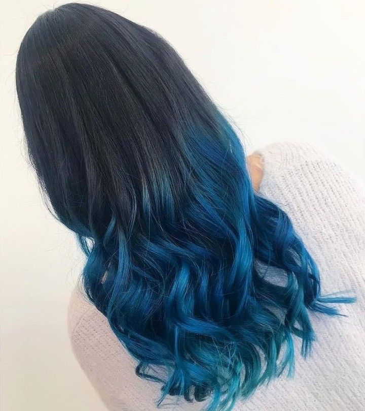 Colors Of The Sea Midnight Blue Hair Midnight Blue Hair Blue Tips Hair Blue Hair