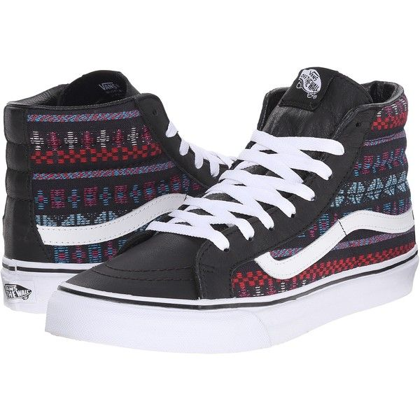 06ca672273 Vans SK8-Hi Slim Black True White) Skate Shoes ( 53) ❤ liked on Polyvore  featuring shoes