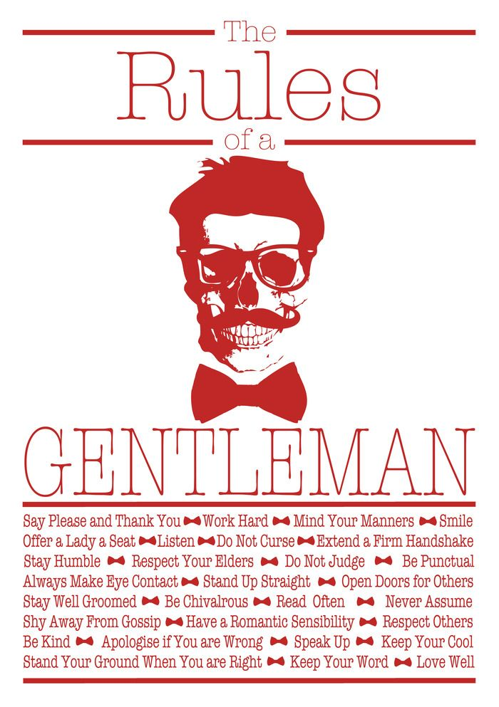 """The Rules of a Gentleman"" by Anthony Ward (To Frame as Posters for BOTH BOYS' ROOMS)"