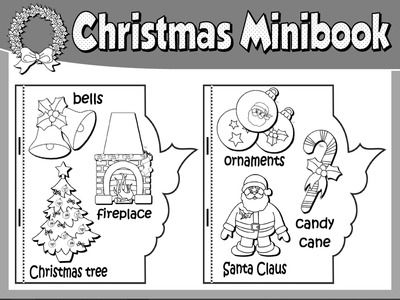 christmas vocabulary mini book bw version christmas coloring pages christmas colors christmas