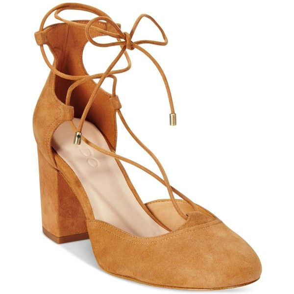 Aldo Women's Franceska Lace-Up Block-Heel Pumps (115 AUD) ❤ liked on Polyvore featuring shoes, pumps, dark tan, aldo shoes, tie shoes, aldo, block heel shoes and ankle tie shoes