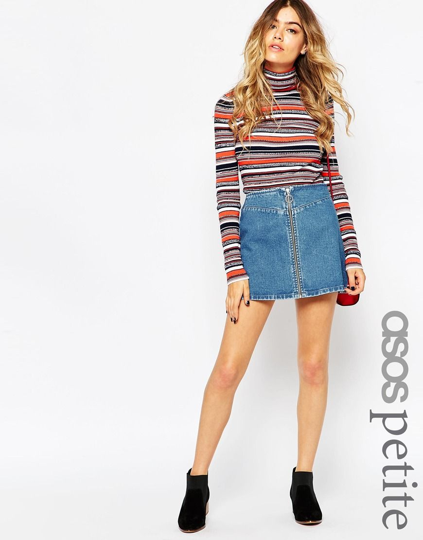 Image 1 of ASOS PETITE Denim A-Line Skirt With Zip Front ...