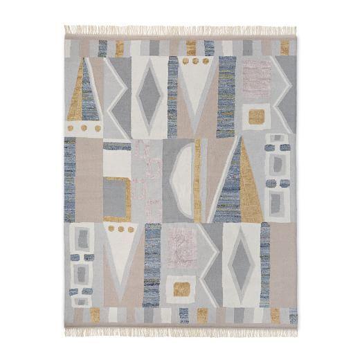 Vienna Wool Kilim Rug Maple Sugar Wool Kilim Rug Geometric Pattern Rug Kilim Rugs
