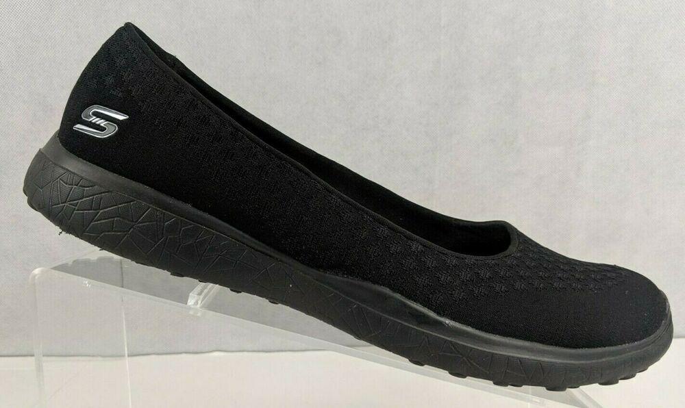 Skechers Womens Air Cooled Memory Foam Black Slip On Shoes Us 11