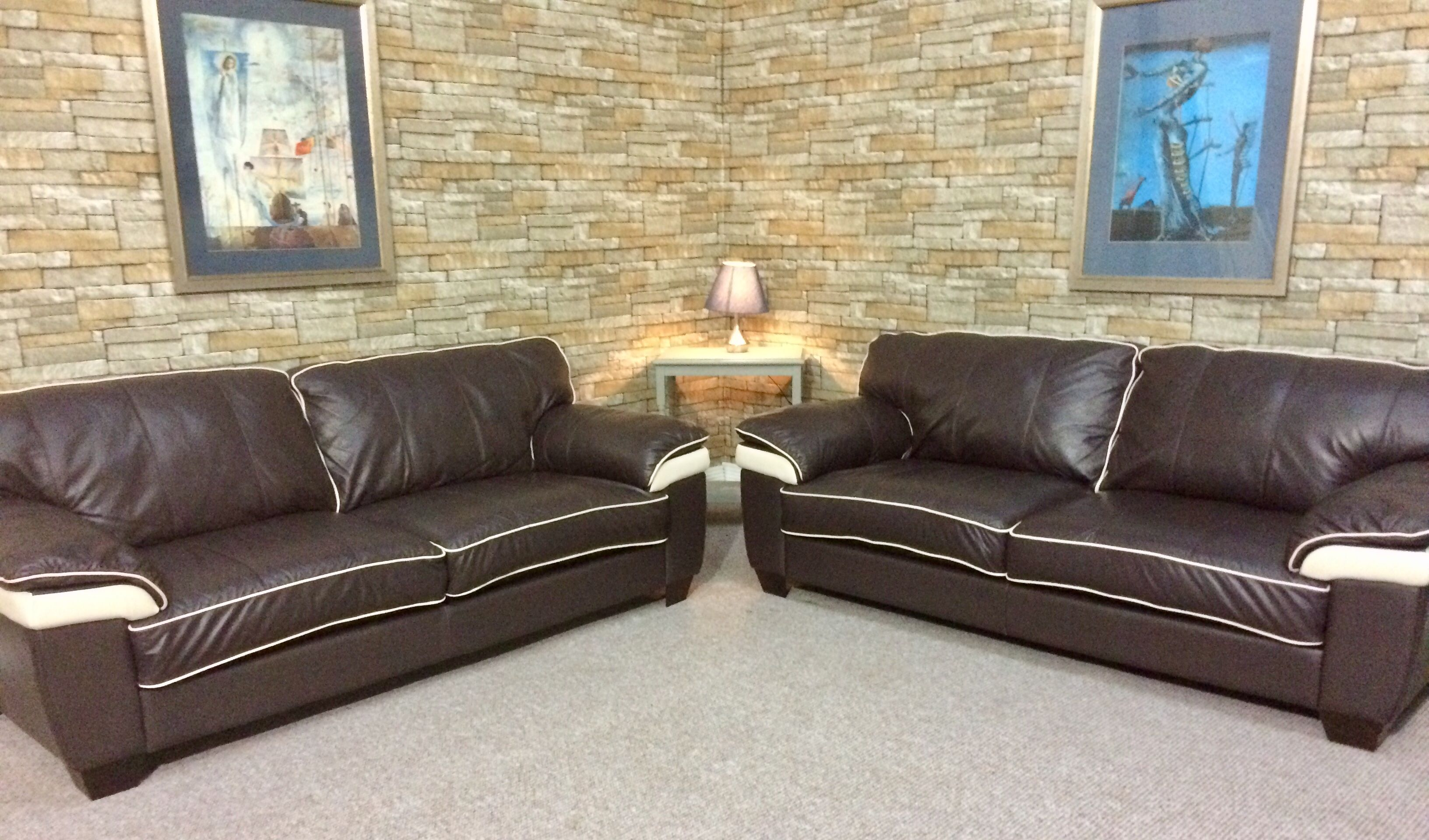 Price Only 450 Description For Beautiful Fully Refurbished Brown Leather Suite With White Trim Comfortable And Stylish Will Add A Touch Of