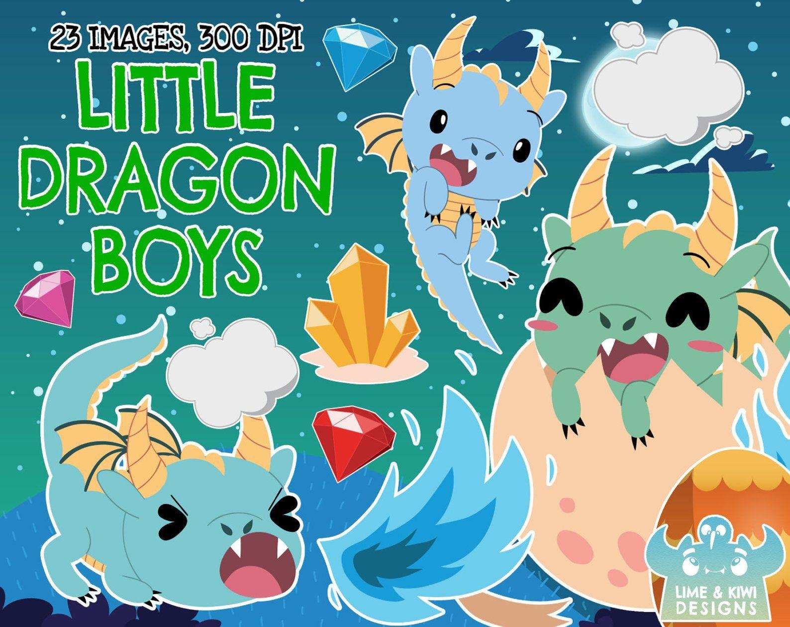 Little Dragon Boys Clipart, Instant Download Vector Art