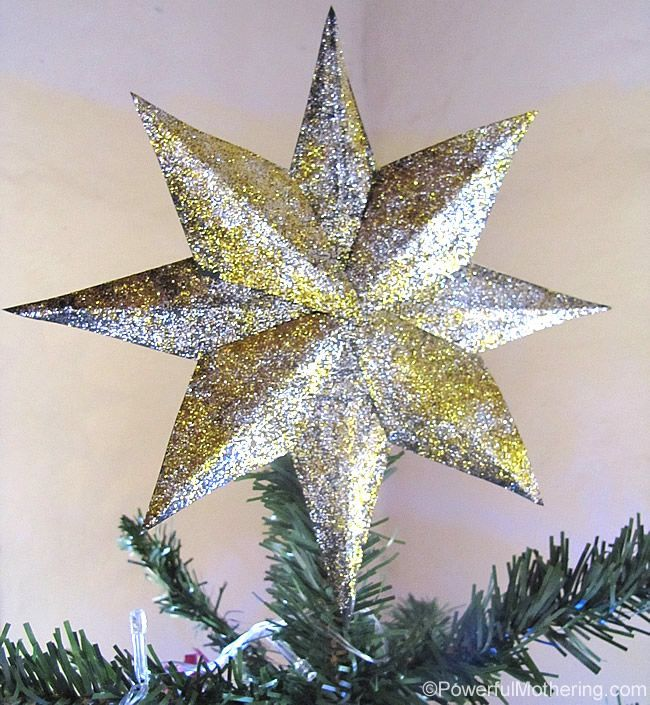make this shiny glittered star tree topper for your christmas tree totally diy