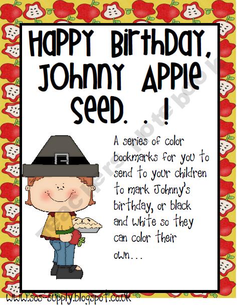 johnny appleseed birthday FREE Happy Birthday Johnny Appleseed Bookmarks   September 26th  johnny appleseed birthday