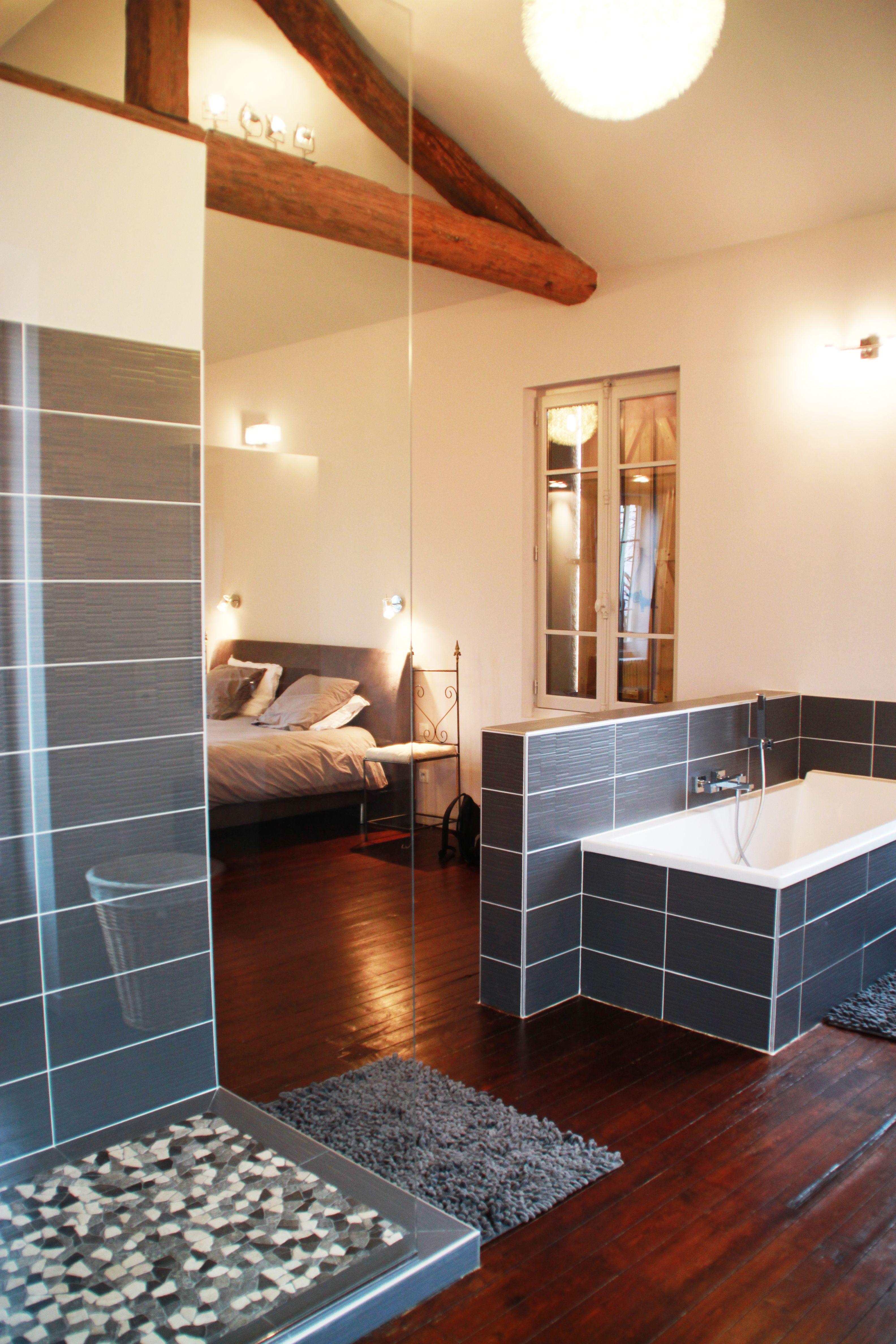 suite parentale avec espace bain et douche fa ence grise avec paroi de douche en verre salle. Black Bedroom Furniture Sets. Home Design Ideas