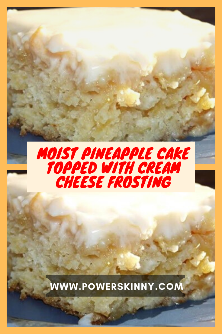 Moist pineapple cake topped with cream cheese frosting – One Of Recipe