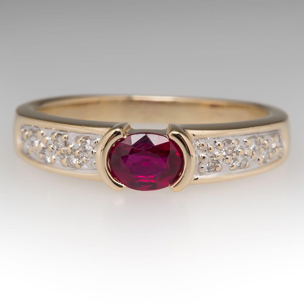 1 3 Carat Bezel Set Ruby Diamond Low Profile Ring 14k Diamond Wedding Rings Women Unique Engagement Rings Rose Gold Morganite Engagement Ring Vintage