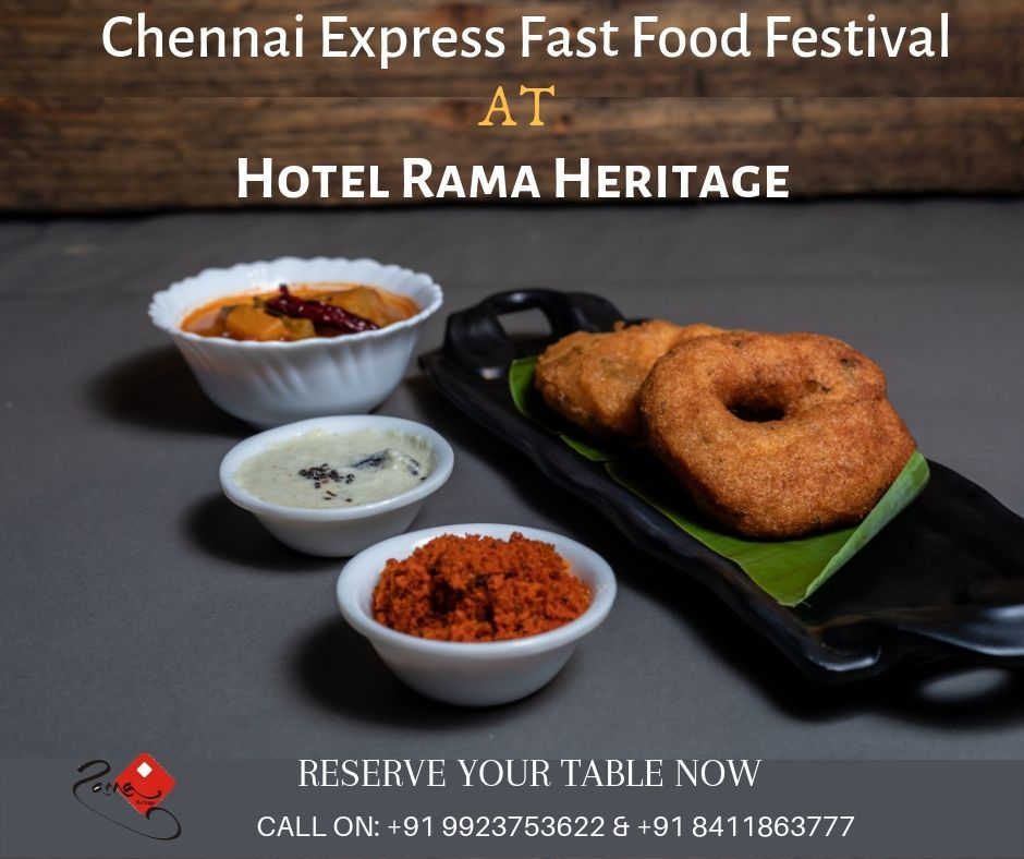 South Indian Cuisine at Hotel Rama Heritage. Come and Enjoy the best of South Indian Cuisine at Hotel Rama Heritage. For Reservation Call on: 9923753622 & 8411863777 .