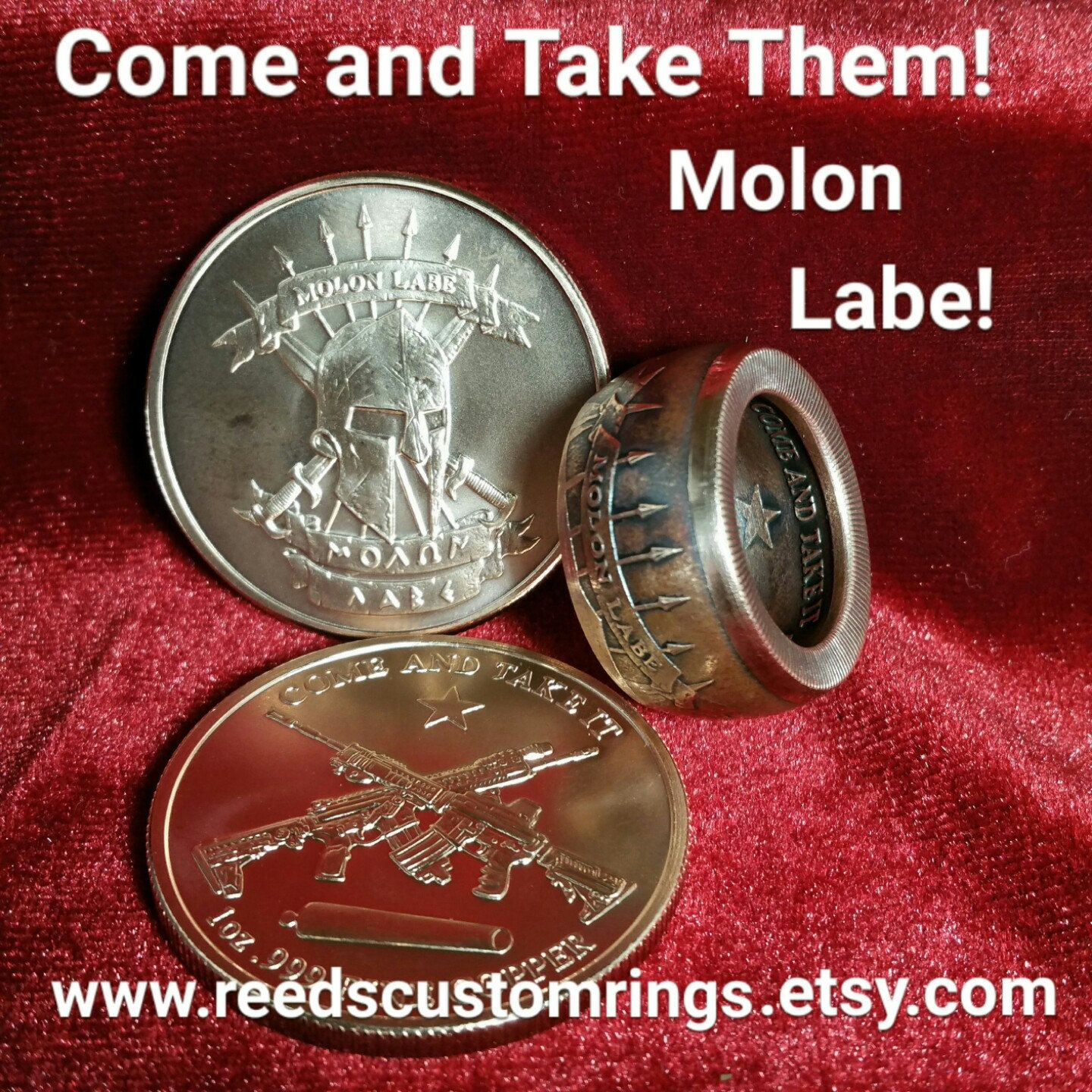 72e0285b6348 Molon Labe - Come and Take Them Pure Copper Rings - Hand Forged from a 1 oz  .999 Pure Copper Coin   www.reedscustomrings.etsy.com  molonlabe ...