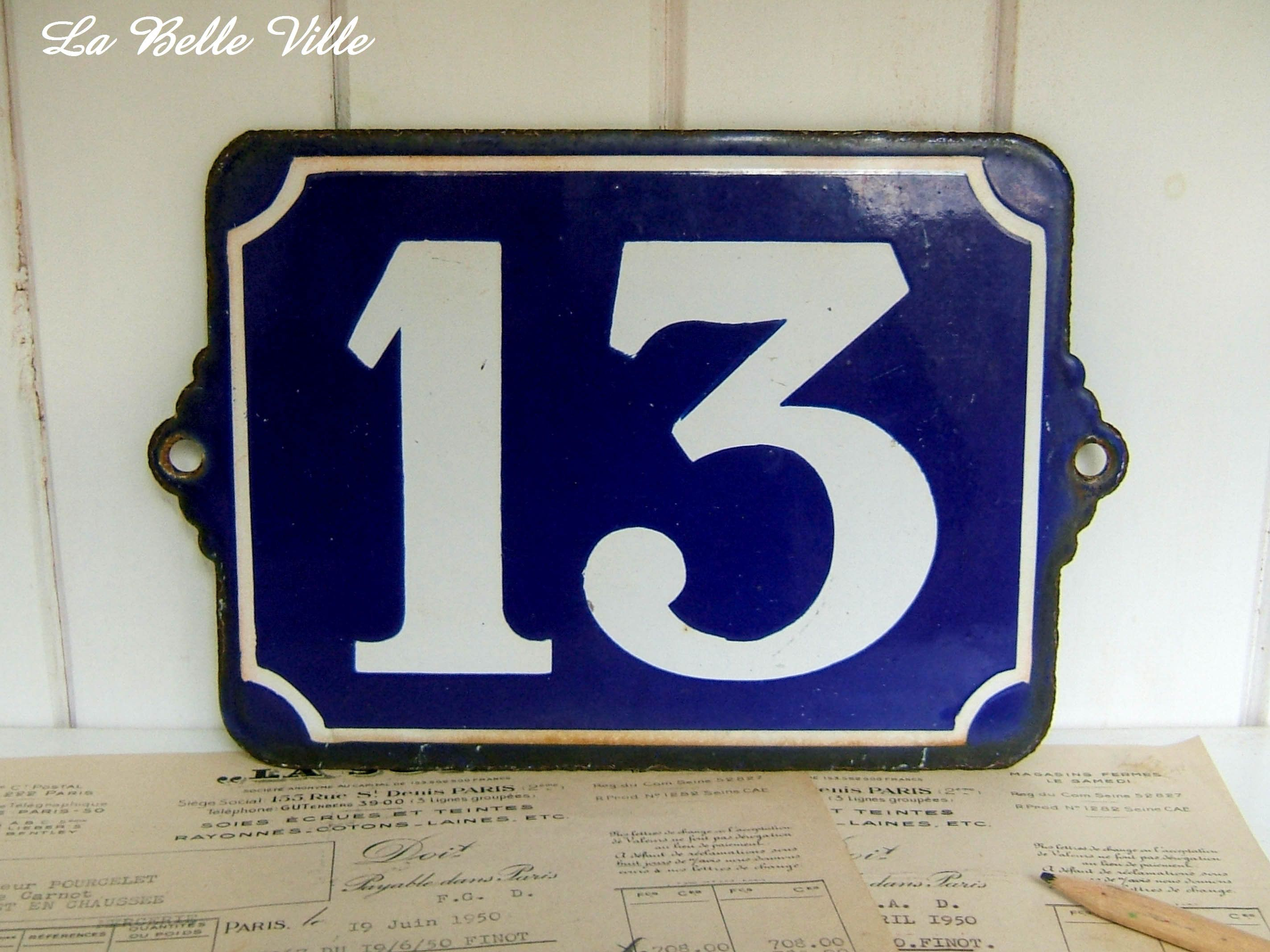 Large Vintage French Enamel House Number 13 Large Blue Street Plate Antique House Number Enamel Number 13 By Antique Plates French Enamel French Vintage