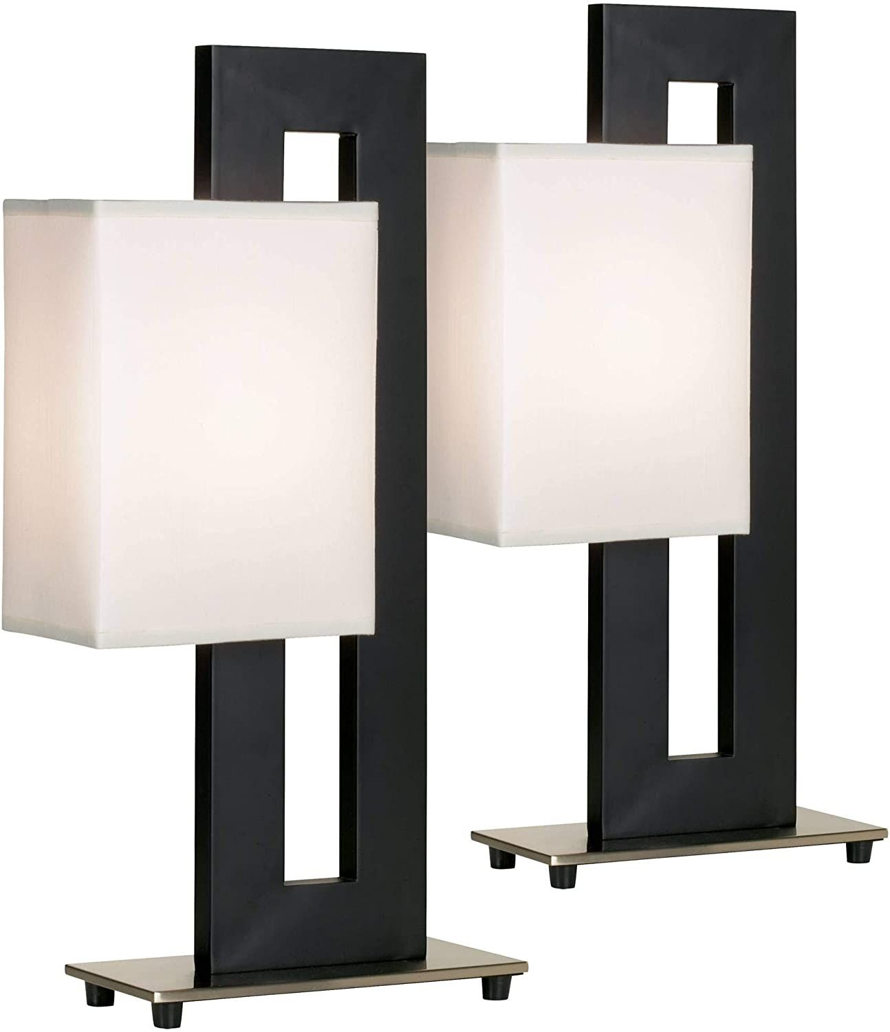 Floating Square Modern Accent Table Lamps Set of 2 Black