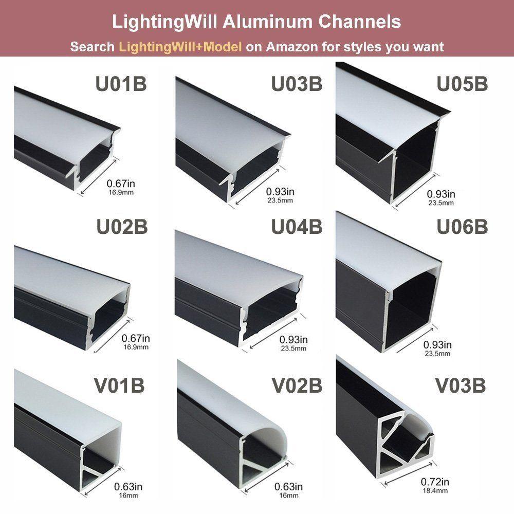 Amazon Com Lightingwill 5 Pack V Shape Led Aluminum Channel System 3 3ft 1m Anodized Black Corner Mount Ext Led Light Design Strip Lighting Led Strip Lighting