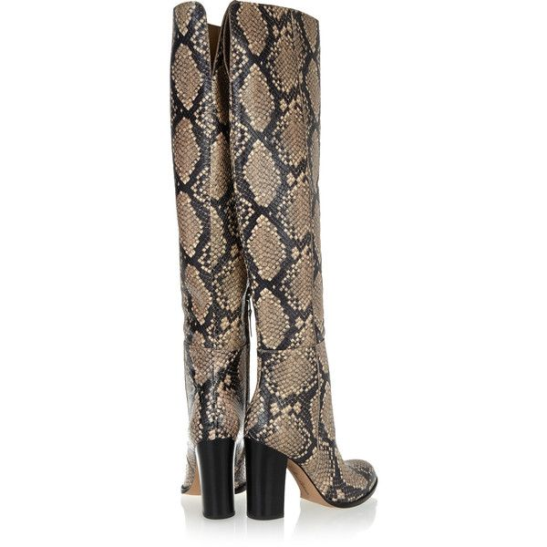 1acfb2d7855c Sam Edelman Rylan snake-effect leather over-the-knee boots (630 SAR) ❤  liked on Polyvore featuring shoes